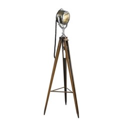 Half Mile Ray Searchlight Floor lamp, H164 x W60 x L60cm, honey/black maple/brass