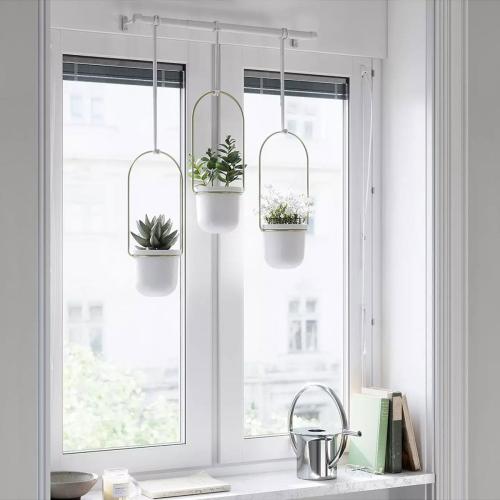 Triflora Hanging planter, H109 x W61 x D13cm, White/Brass