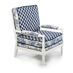 Indigo Outdoor chair, W71.12 x H95.25 x W71.12cm, blue & white