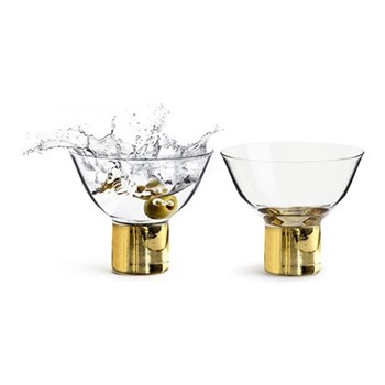 Club Gold Pair of cocktail glasses, H8cm - 15cl, clear