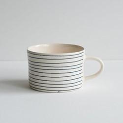 Horizontal Stripe Set of 6 mugs, H7 x W10.5cm, eggplant