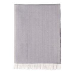 Herringbone Merino woven throw, 190 x 140cm, mauve taupe & white