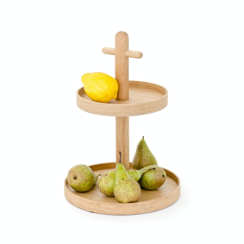 Cookhouse Two tier fruit stand, H35.4 x Dia25.4cm, Natural Oak