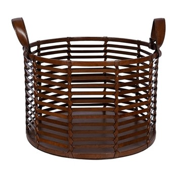 Slotted leather basket, H27 x W40 x L40cm, tan