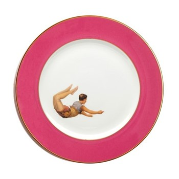 Trapeze Boy Dinner plate, 27cm, crisp white with raspberry pink border/burnished gold edge
