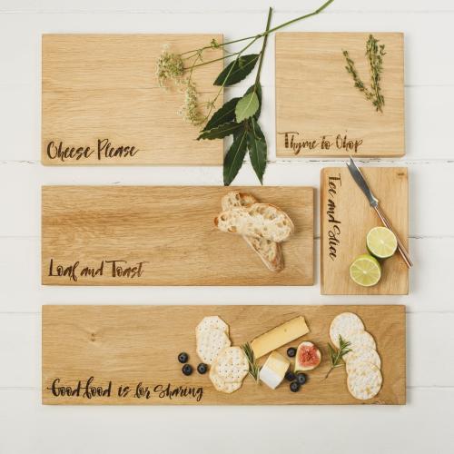 """""""Good Food is for Sharing"""" Serving platter - large, 60 x 15 x 1.8cm, engraved oak"""