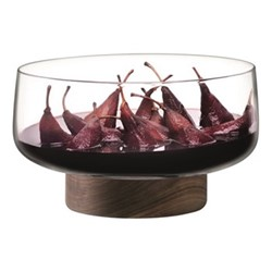 City Bowl & walnut base, D30cm, clear