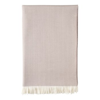 Herringbone Merino woven bed throw, 230 x 150cm, mauve taupe & white