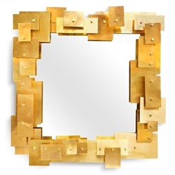 Puzzle Puzzle mirror, W74 x D8.3 x H78.7cm, brass/white
