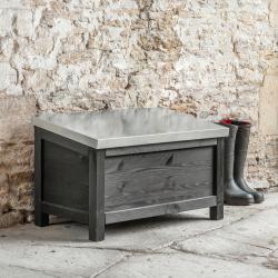 Moreton Outdoor storage box, H50 x D45 x W80cm, Carbon/Spruce