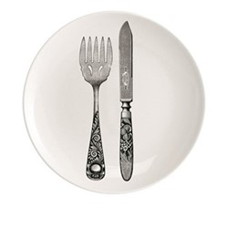 Knife And Fork Plate, Dia20cm, black/white