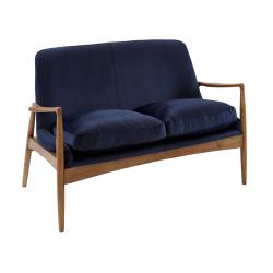 Crispin Sofa, W131.5 x H82 x D72cm, Blue Velvet