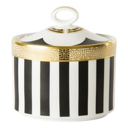 Satori Black Small sugar bowl - charnwood, H8.5cm, black/white/gold