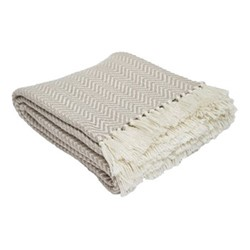 Herringbone Throw, L230 x W130cm, chinchilla