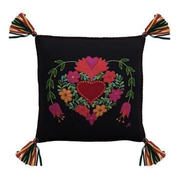 Fiesta Heart Cushion, 46 x 46cm, black