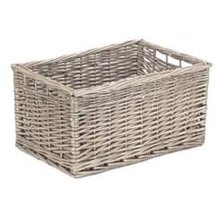 Antique Wash Storage basket, H20 x W25 x L37cm, willow