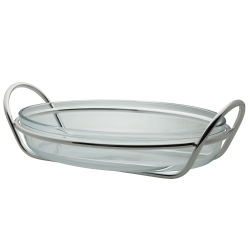 Eleis Gratin dish, 35 x 24cm, oval oven proof glass dish with silver surround
