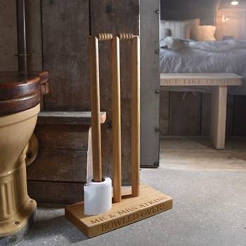Bespoke engraved cricket wicket loo roll holder, W40 x D20 x H70cm