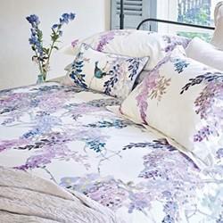 Wisteria Falls King size duvet cover, L220 x W230cm, lilac