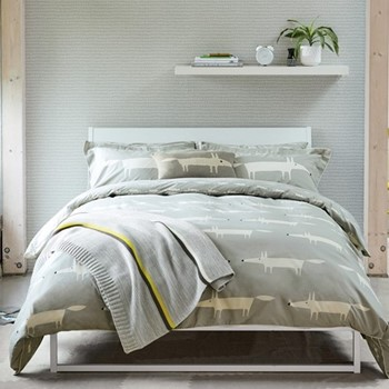 Mr Fox King size duvet cover, L220 x W230cm, silver
