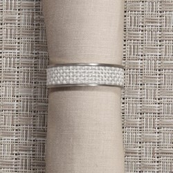Mini Basketweave Napkin ring, 4cm, white