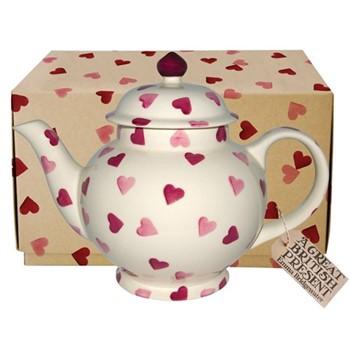 Pink Hearts Teapot, H18.8 x D25.6cm - 1193ml