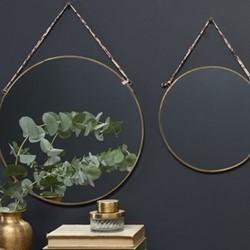 Kiko Large round mirror, 38 x 0.5cm, brass