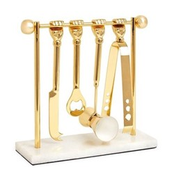 Muse Brass barbell barware set, W9.25 x D9.53 x H24.13cm, brass