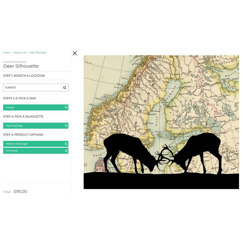 Stags Rutting Framed silhouette image with personalised map, 43 x 48cm, Black Frame
