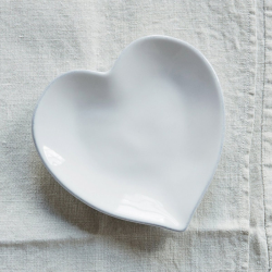 Heart Plate, 13cm, White Stoneware