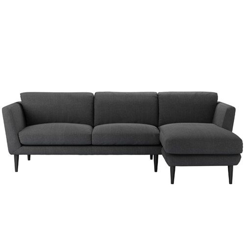 Holly Right hand facing chaise sofa, H87 x W255 x D90cm, Charcoal