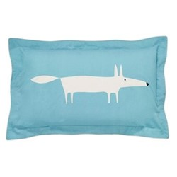 Mr Fox Oxford pillowcase, L48 x W74cm, teal