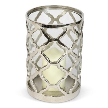 Regency Large lattice hurricane, H23 x D16cm, aluminium/glass