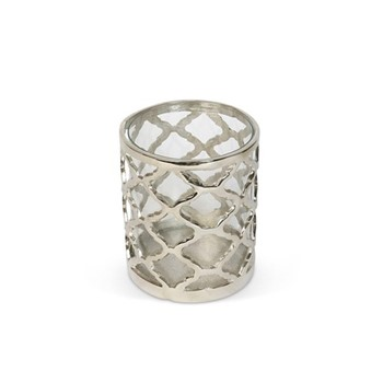 Regency Small lattice hurricane, H12 x D14cm, aluminium/glass