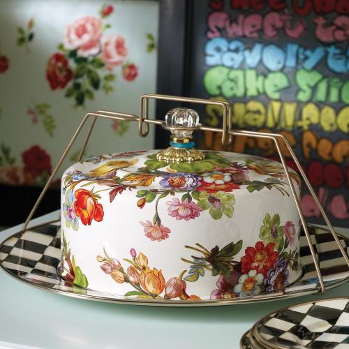 Flower Market Cake carrier, 40 x 29cm, White