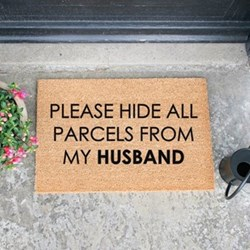 Please Hide all Parcels From Husband Doormat, L60 x W40 x H1.5cm, black