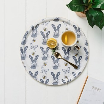 Hare With Bees & Butterfly Repeat Tray, 35cm