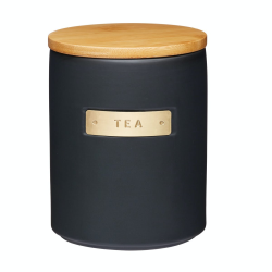 Tea canister, H15 x D11cm, Black Stoneware/Bamboo