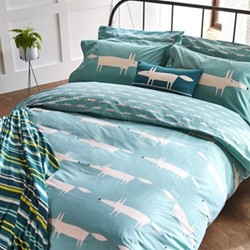 Mr Fox King size duvet cover, L220 x W230cm, teal