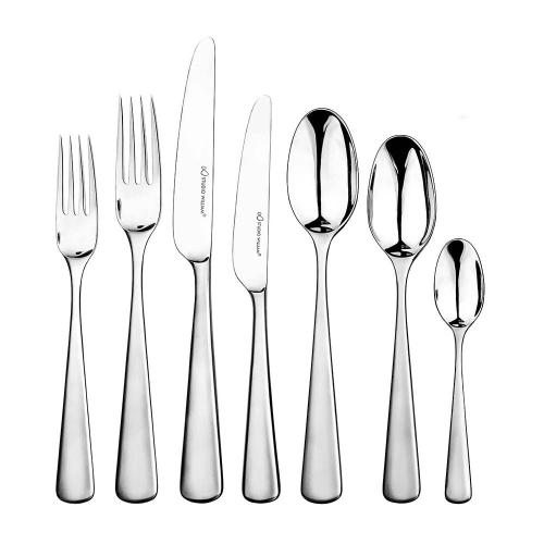 Mahogany 42 piece cutlery set, Satin Finish Stainless Steel