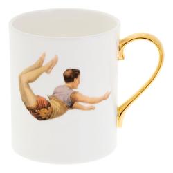 Trapeze Boy Mug, W7.5 x H9cm, Crisp White/Burnished Gold Details
