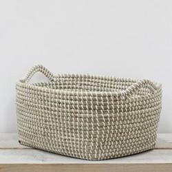 Lagra Large seagrass basket, L46 x W37 x H21cm, natural/white