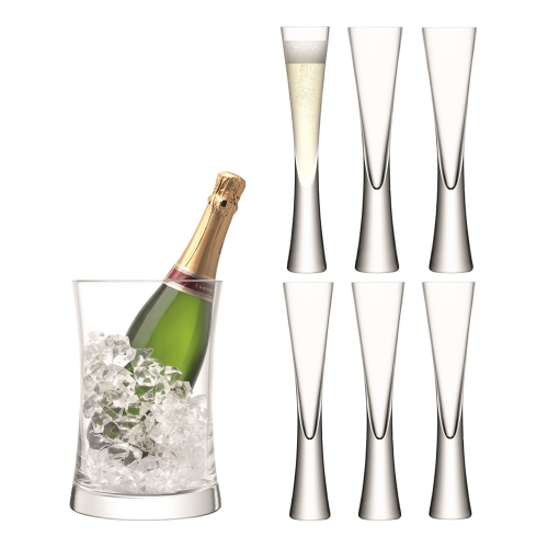 Moya Champagne bucket and flute set, clear
