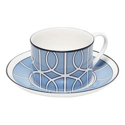 Loop Teacup and saucer, H8.4cm - Saucer 15cm, cornflower blue/white (black rim)