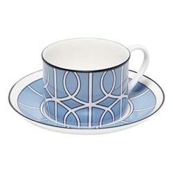 Loop Teacup and saucer, H8.4cm - Saucer 15cm, cornflower blue/white (black rim)