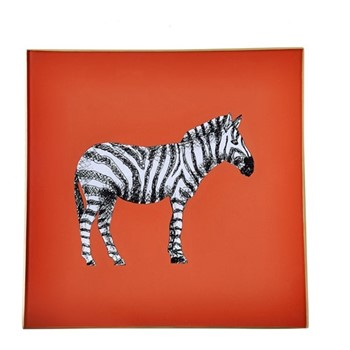 Zebra Square decoupage tray, 20cm, orange/gold edging