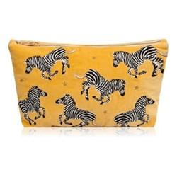 Kenya Collection - Zebra Velvet Travel Pouch, 20 x 30cm, mustard