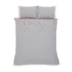 Embroidered Blossom King size duvet set, 220 x 230cm, Grey