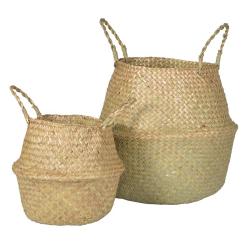 A pair of baskets, 23 x 27 / 36 x 38cm, natural grass
