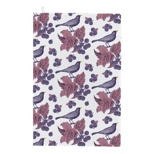 Blackbird & Bramble Tea towel, 50 x 70cm, White/Purple/Pink